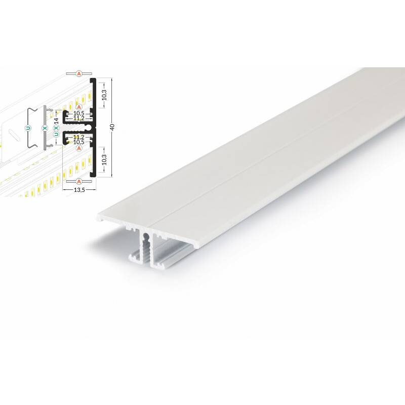 -4 Meter LED Profil Back 8 und 10 - Voute weiss lackiert-