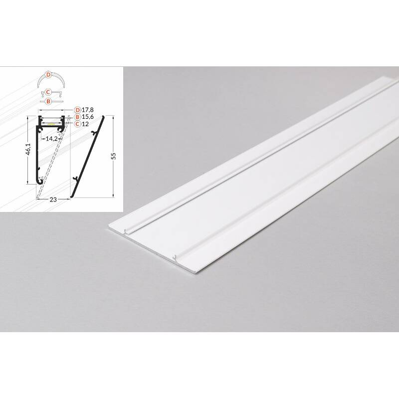 -4 Meter LED Profil Wall 10mm -Frontblende weiss lackiert Serie M-