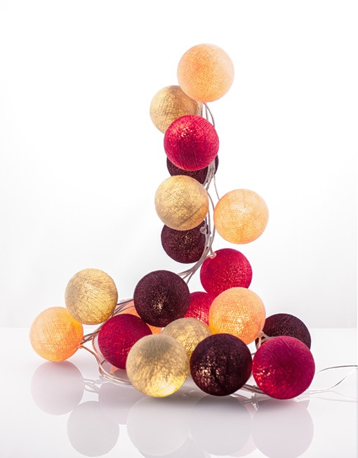 good moods- SWEETS FOR MY SWEET - Ball-Lichterkette mit 20 Stoffkugeln - 20 warmweisse LEDs