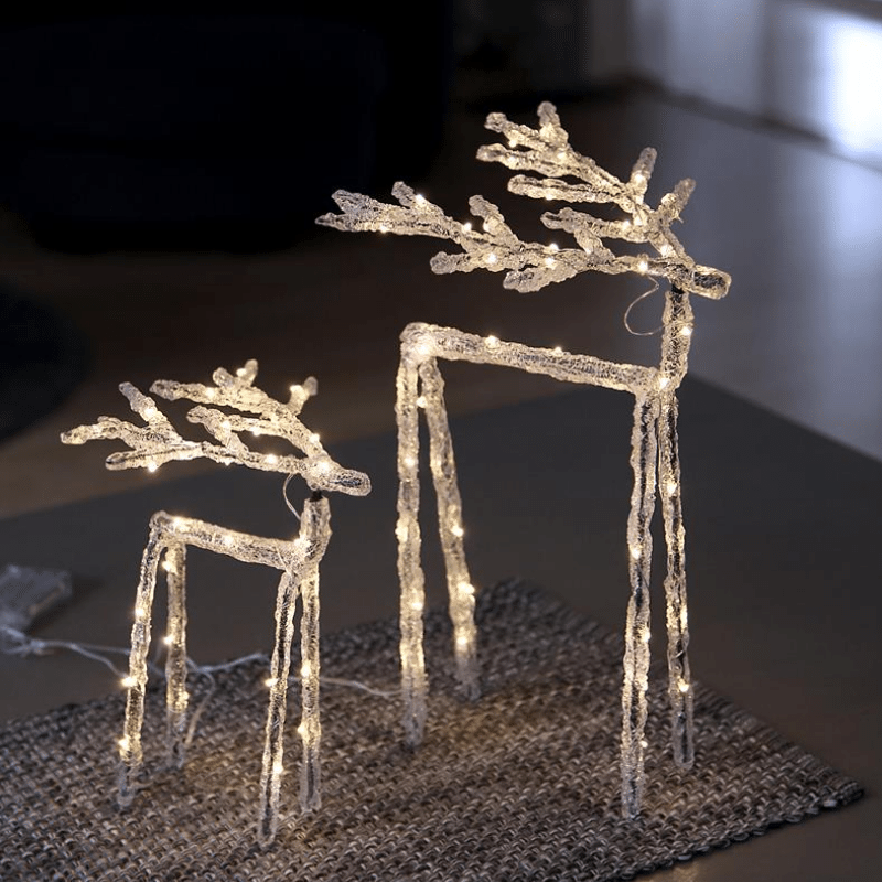 LED Acryl Design-Rentier Icy Deer - 60 warmweisse LED - H: 40cm - inkl- Trafo - transparent
