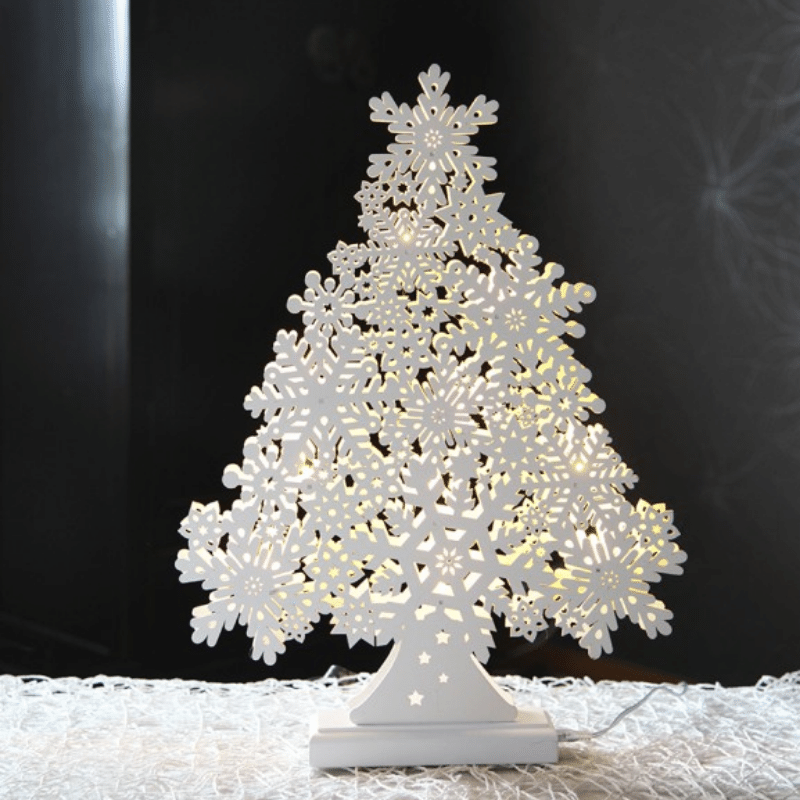 LED Fensterleuchter Snowflake Tree - 11 warmweisse LEDs - L: 35cm- H: 47cm - Indoor - weiss