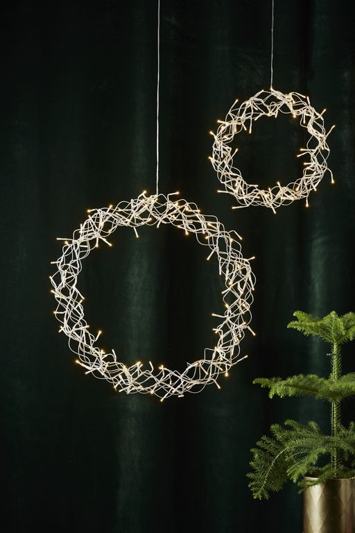LED-Kranz Curly - 136 warmweisse LEDs - - 50cm - silber