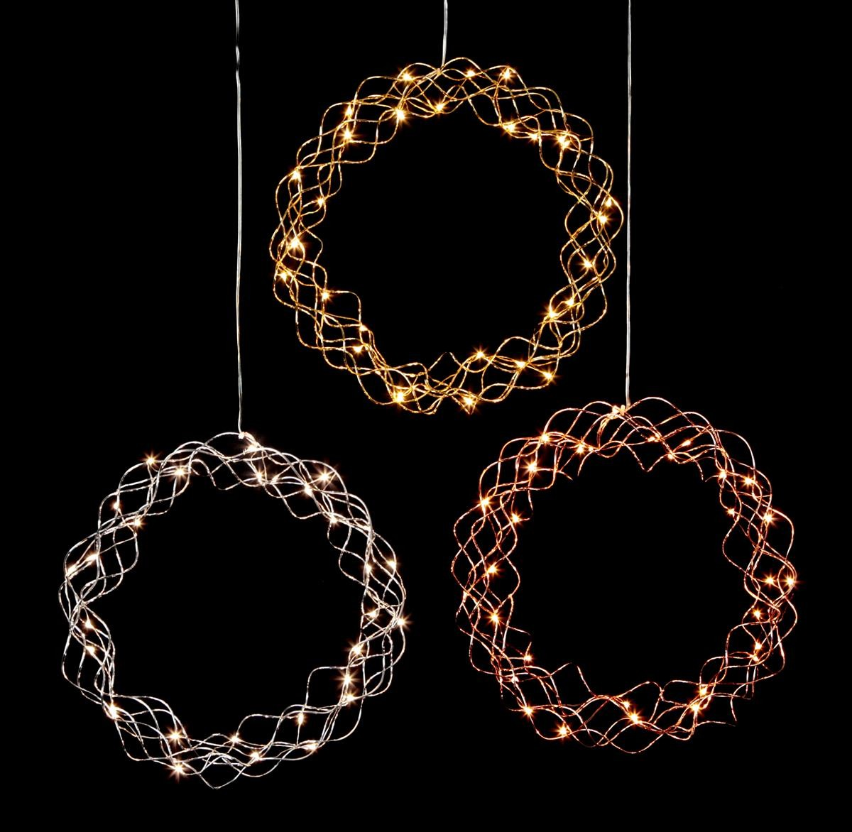 LED-Kranz Curly - 30 warmweisse LED - D: 30cm - Material: Metall - gold