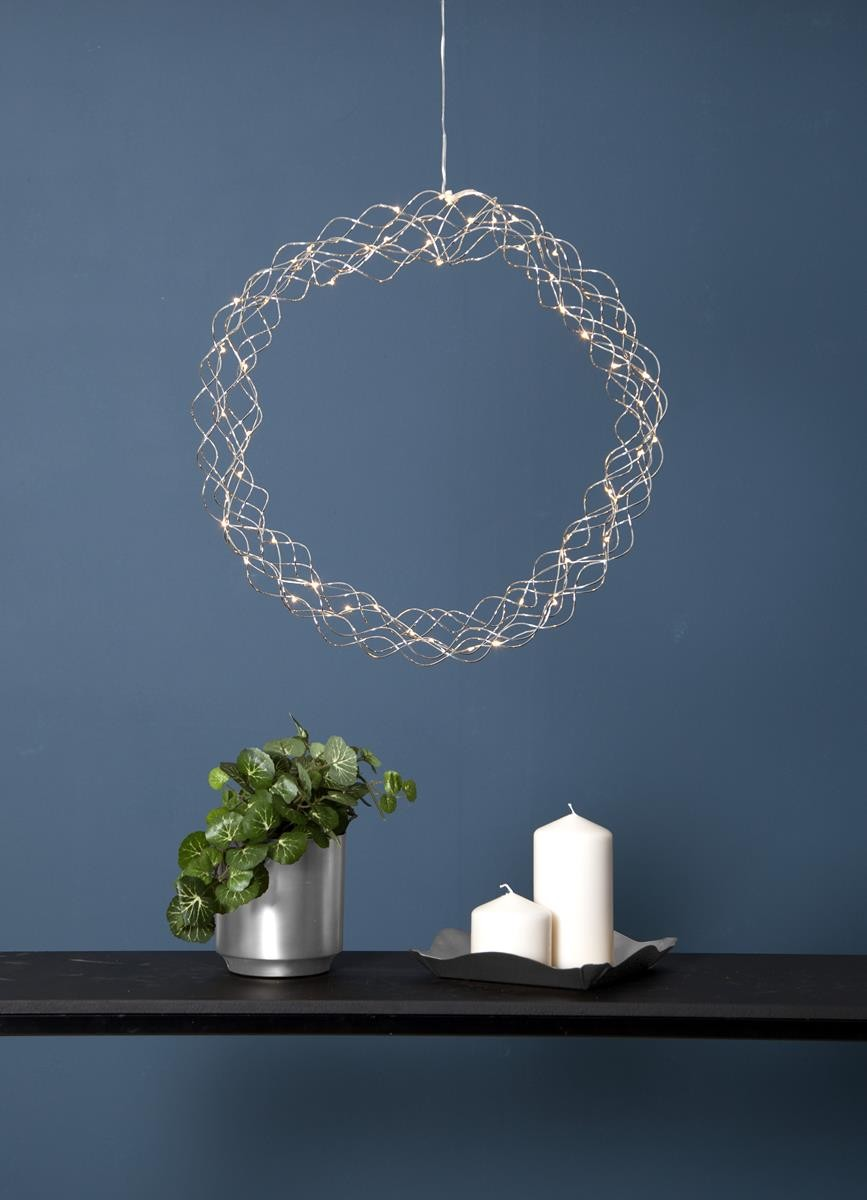 LED-Kranz Curly - 50 warmweisse LED - D: 45cm - Material: Metall - silber