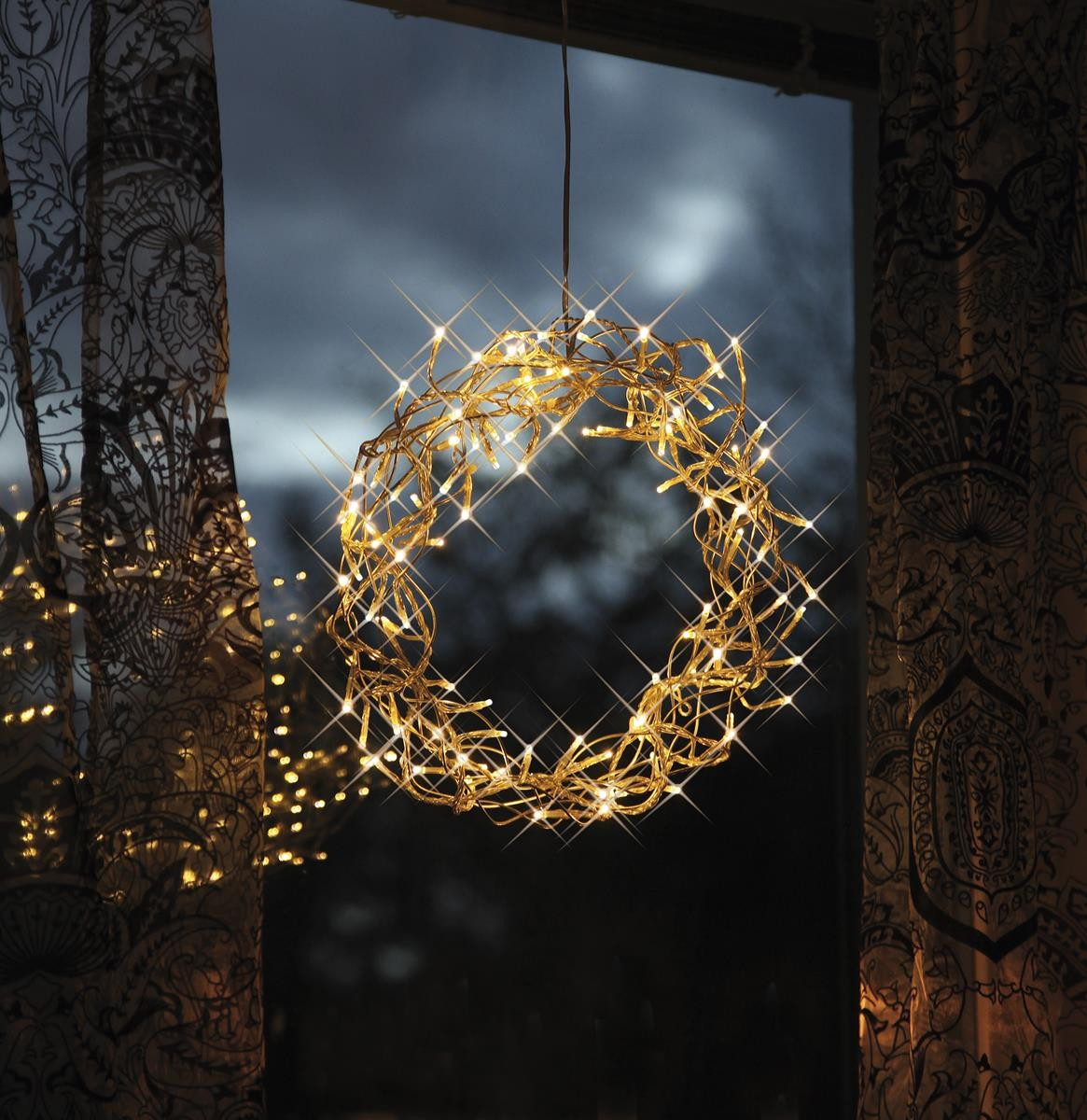 LED-Kranz Curly - 80 warmweisse LEDs - - 30cm - silber