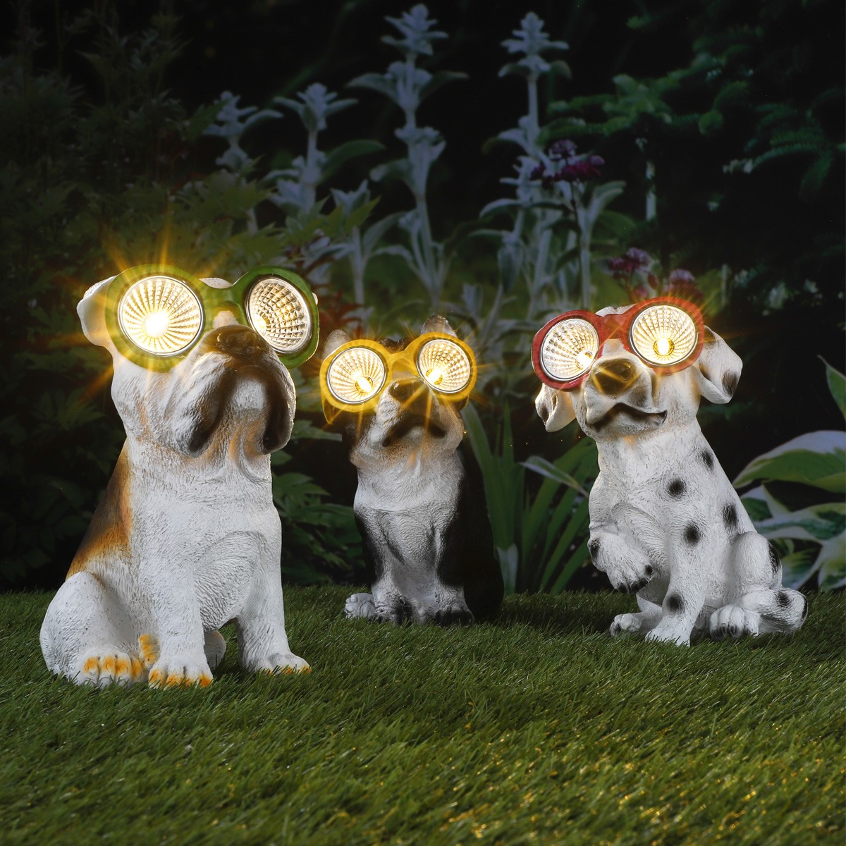 LED Solar Leuchte Hund Lucky - warmweisse LED - H: 20cm - Rote Brille